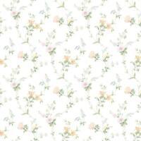 Wallpaper Designer Peach Pink Blue Yellow Green Mini Floral Vine on Cream Faux