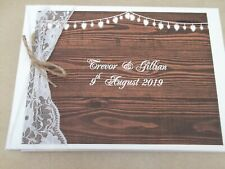 PERSONALISED VINTAGE WOOD  HEARTS WEDDING GUEST BOOK / ALBUM RUSTIC LACE & TWINE