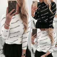 Womens Letter Print T Shirt Blouse Long Sleeve Casual Slim Fit Tee Tops Lad yi