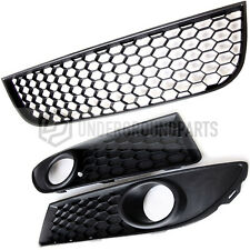 VW POLO MK3 9N 9N3 GTI HONEYCOMB GRILLES BLACK GLOSS GRILLE for EMBLEM+RED STRIP