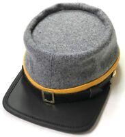 CIVIL WAR CSA CONFEDERATE CAVALRY GREY WOOL KEPI FORAGE CAP HAT-MEDIUM