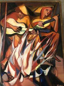 Janine MARCA (1921-2013) HsT 100x 80 Feu De Camp Peinture Nle Ecole de Paris
