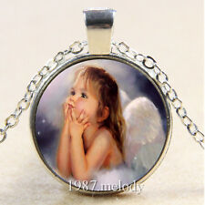 New Cabochon Glass Silver/Bronze/Black Chain Pendant Necklace (angel girl