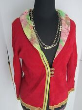Anthropologie Eva + Claudi Red Pink Floral 3 Jewel Button Cardigan Top Spring S