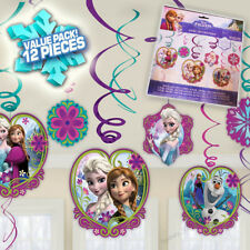 DISNEY FROZEN BIRTHDAY PARTY HANGING SWIRL DECORATIONS  FOIL SWIRLING PACK OF 12