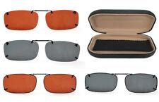 Polarized UV400 Protected *Multi Size* Clip-On Sunglasses Over Glasses+Hard Case