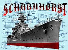 "Model Boat Plans 30"" RADIO CONTROL Scale GERMAN WARSHIP SCHARNHORSTPLANS"