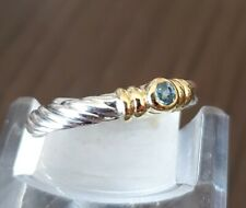 David Yurman Blue Topaz Noblesse Ring in Sterling Silver & Gold, size 4
