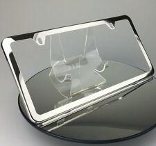Slim 2 Holes Bmw License Plate Polish Stainless Steel Frame Holder w/Chrome Cap