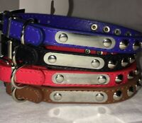 """Pet Dog Adjustable PU Leather Studded Round Puppy Cat Necklace Collar 14"""" S M"""