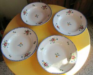 Vintage 4 assiettes creuses faïence Digoin Sarreguemines fleurettes peint main
