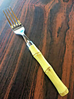 Cambridge Bamboo Stainless Flatware  Yellow Plastic Handles   1 Dinner Fork