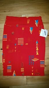 Womens Lularoe Cassie Skirt Size Large L Colorful Red Triangles New NWT