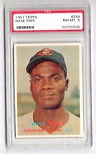 1957 Topps #249 Dave Pope - Cleveland Indians, Graded PSA 8 NM-MT Condition'