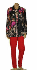 CHALOU EURO PLUS BUTTONED PRINTED LONG SLEEVES SHIRT BLOUSE MULTI COLOR 14 $298