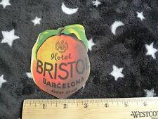Hotel Bristol, Barcelona Spain, Peach Shaped Die Cut Vintage Luggage Label