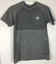 Mens Umbro Athletic Shirt Large Short Sleeve Crew Gray Nylon Blend