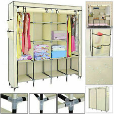 Triple Canvas Wardrobe Hanging Clothes Cupboard Rail Storage Shelves Organiser