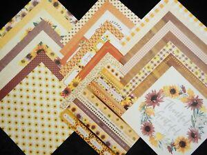 12X12 Scrapbook Paper Cardstock Fall Sunflowers Fields Sunset Autumn Rustic 24