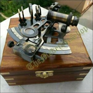 Maritime Antique Brass Marine Sextant Nautical Astrolabe WORKING w/Wooden Box