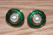 Unbranded Gold Tone Round Stud Back Earrings with Green Ring & Pearl Center READ
