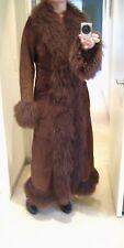 VERY COOL! JOSEPH London Brown Mongolian Lamb Fur Suede Long Coat size L