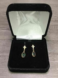 14K Yellow Gold Mystic Color Stone Dangle Earring