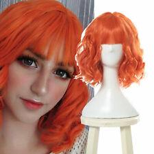 Harajuku Lolita Curly Wavy Orange Cosplay Wig Women Bangs Christmas Full Wigs
