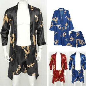 Plus Size Satin Men Two Pieces Shower Bathrobe Nightgown Robes/Shorts Set Kimono