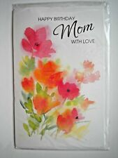 """WATERCOLOUR """"HAPPY BIRTHDAY MOM WITH LOVE"""" BIRTHDAY GREETING CARD + ENVELOPE"""
