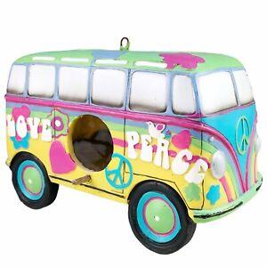 Spoontiques VW Microbus Birdhouse Peace Love Hippie Rainbow Volkswagon Flowers
