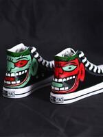 Men's Graffiti High-top Canvas Skateboard Hip-hop Dance Sneakers Shoes VICT