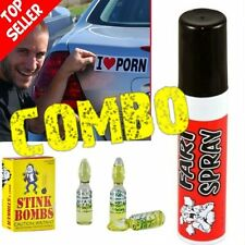 "1 Fart Spray Can + 3 Stink Bombs + 1 ""I Love Porn"" Car Magnet  ~ COMBO!"