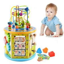 8 in 1 Wooden Toys Kids Learning Educational Toy Bead Maze Activity Cube Game