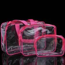 Transparent Travel Bag Set Airport Cosmetic Makeup Toiletry Clear Wash uk Seja