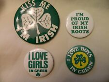 Set Of Four Vintage 1970'S Irish Pins -St. Patrick'S Day Attire