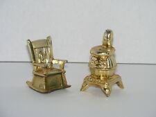 ROCKING CHAIR & POT BELLY WOOD BURNING STOVE SALT & PEPPER SHAKERS