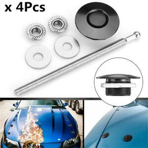 4Pcs Blk Quick Release Latches Push Button Car Hood Pin Bonnet Lock Bumper Clip
