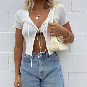 Women Sexy Stretch Ribbed Knited Crop Tops Lace  Up Short Sleeve Blouse Shirt L#