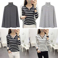 Women Autumn/Winter Striped Slim Fit T-Shirt Long Sleeve V-Neck Soft Tops Casual
