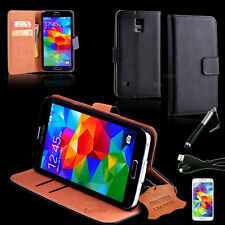 Genuine Real Leather Wallet Case for Samsung Galaxy S5