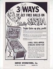 BALLY SHEBA ORIGINAL PINBALL MACHINE ADVERTISING SALES FLYER BROCHURE 1964