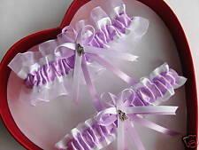New Wedding Garter Set Lavender White  Love  Prom Homecoming Dance