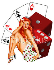 Rockabilly Pinup Girl Waterslide Decal Cards Dice Cherry for Guitars & More S856