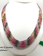 Ebay Designer 5 Strand 100% Natural Multi Tourmaline Gemstone Beads Necklace 16""