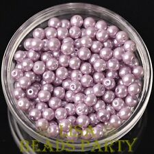 300pcs 6mm Round Czech Glass Pearl Loose Spacer Beads Baby Purple