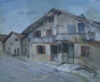 Vecchio Casa con Balcone Architettura Dipinto a Olio circa 1930 Alpi Tyrol ?