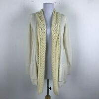 Anthropologie Angel of the North Cardigan Sweater Size XS Ivory Cotton Wool