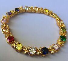 """GB Multi-coloured cubic zirconia 18ct gold gf 7.3"""" tennis bracelet BOXED Plum UK"""