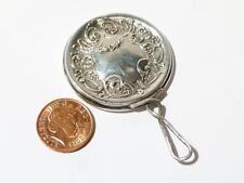 Antico Argento Sterling in miniatura VANITY Borsetta Chatelaine specchio o casa delle bambole